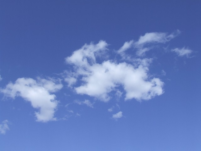 white clouds blue sky